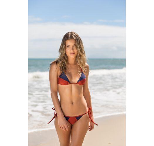Burgundy / blue textured triangle bikini top - TOP LIQUOR RECORTE TRI
