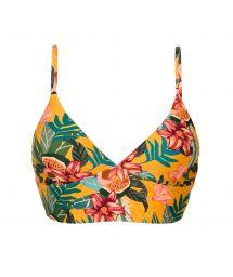 Orange yellow floral laced back bralette bikini top - TOP LIS TRI-TANK