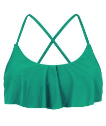 Green frilled bikini top crossed back - TOP MALAQUITA BABADO