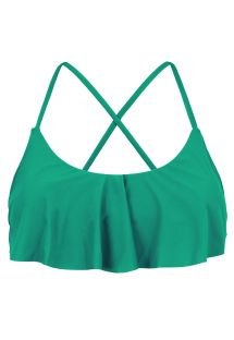 Crop top verde incrociato dietro con volant - TOP MALAQUITA BABADO
