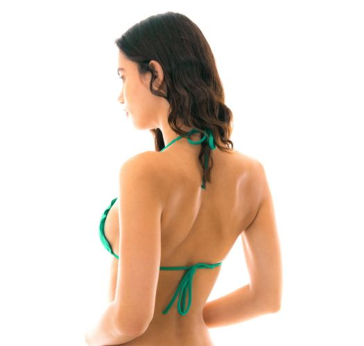 Green sliding triangle bikini top wavy edges - TOP MALAQUITA EVA