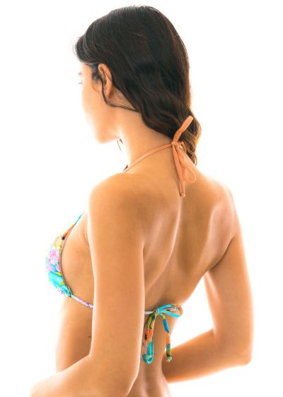 Colorful triangle bikini top with wavy edges - TOP MAXI FLOWER ARG TRI