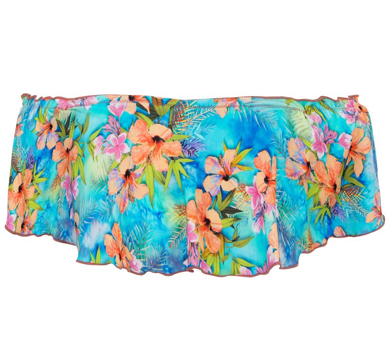 Multicolored floral crop top with ruffle - TOP MAXI FLOWER BABADO