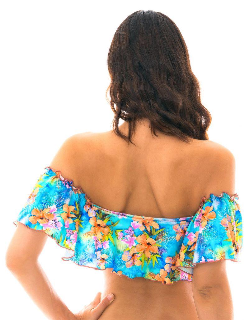 Flerfärgat blommig kort volangprydd topp - TOP MAXI FLOWER BABADO
