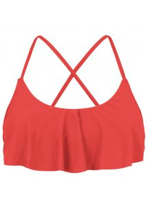 Back crossed and frilled red crop top - TOP MELANCIA BABADO