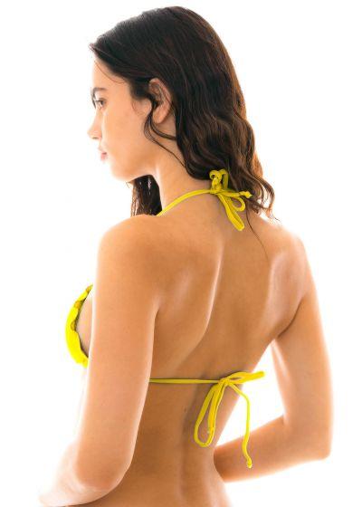 Yellow neck-tied triangle bikini top wavy edges - TOP MELON EVA