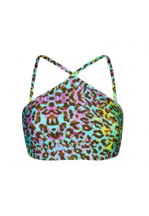 Multicoloured leopard print bathing crop top - TOP MORUMBI CROPPED