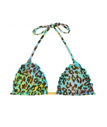 Multicoloured leopard print triangle top with wavy edges - TOP MORUMBI FRUFRU