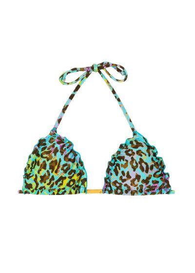 Multicoloured leopard print triangle top with wavy edges - TOP MORUMBI FRUFRU