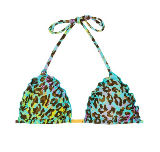 Trekant-topp, leopard-mønster, flerfarget med blondekanter - TOP MORUMBI FRUFRU