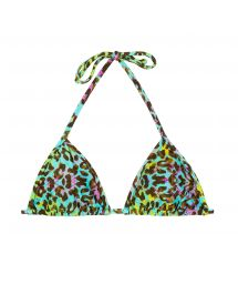 Multicoloured leopard print sliding triangle top - TOP MORUMBI MICRO