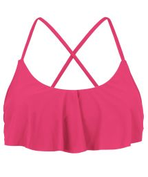 Back crossed and frilled pink fuchsia crop top - TOP OLINDA BABADO