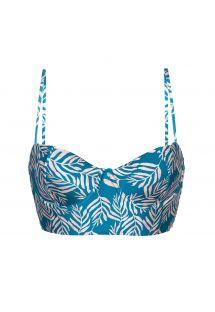 Sujetador bikini bralette con estampado de hojas azul - TOP PALMS-BLUE BALCONET-ANNA