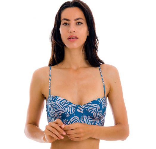 Blue laced back bralette bikini top with leaf pattern - TOP PALMS-BLUE BALCONET-ANNA