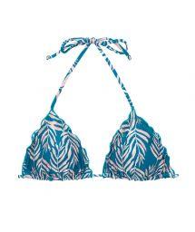 Blue bikini top with leaf pattern and wavy edges - TOP PALMS-BLUE TRI
