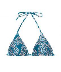 Haut triangle coulissant bleu motif feuilles - TOP PALMS-BLUE TRI-INV