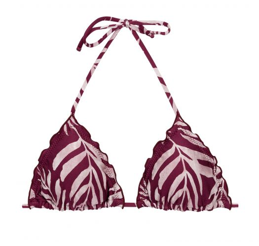 Wine red triangle top with leaf pattern and wavy edges - TOP PALMS-VINE TRI