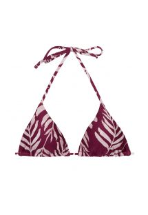 Wine red sliding triangle top with leaf pattern - TOP PALMS-VINE TRI-INV