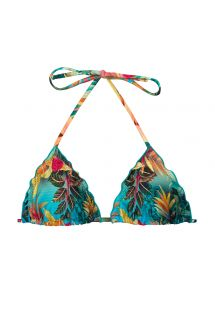 Tropical floral triangle top with wavy edges - TOP PARADISE TRI