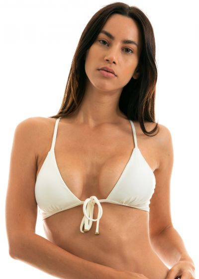 Accessorized off-white crossover front-tied triangle top - TOP PEROLA TRI ARG