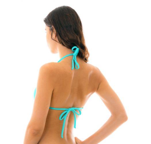 Turquoise neck-tied triangle bikini top - TOP PISCINA TRI