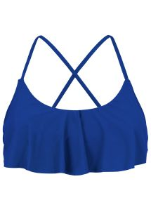 Haut crop top bleu marine à volants dos croisé - TOP PLANET BLUE BABADO