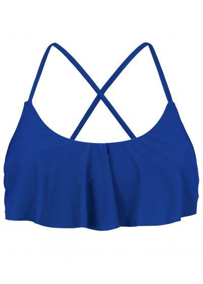 Marinblå kort topp med volanger, korsad rygg - TOP PLANET BLUE BABADO