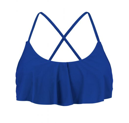 Back-crossed and frilled navy blue crop top - TOP PLANET BLUE BABADO