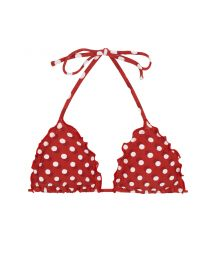 BBS X RIO DE SOL - Wavy triangle top in polka dots - TOP POA RED FRUFRU