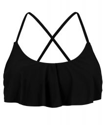 Black frilled bikini top crossed back - TOP PRETO BABADO