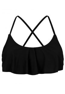 Crop top  nero incrociato dietro con volant - TOP PRETO BABADO
