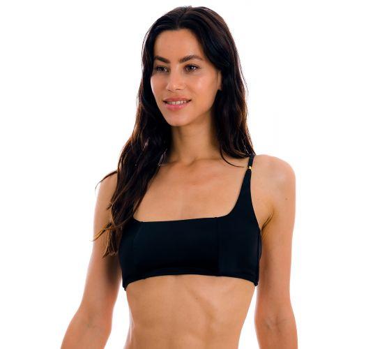 Black sports bikini top with gold details - TOP PRETO BRA-SPORT