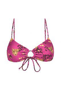Pink leopard print front-tie top - TOP ROAR-PINK MILA