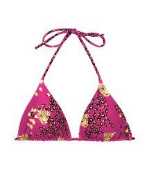 Pink leopard print sliding triangle top - TOP ROAR-PINK TRI-INV
