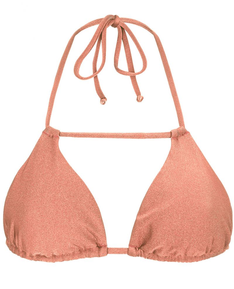 Peach-pink triangle top - TOP ROSE DETAIL