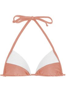Peach and white textured triangle bikini top - TOP ROSE RECORTE TRI