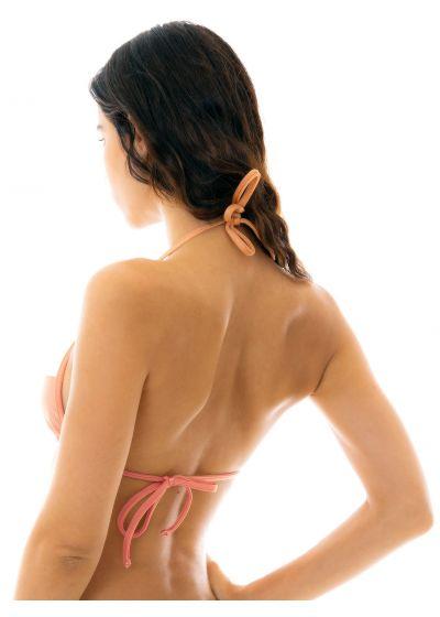 Peach and white textured triangle bikini top - TOP ROSE RECORTE TRI