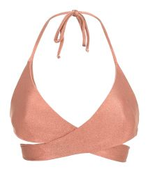 Peach-pink wrap bra bikini top - TOP ROSE TRANSPASSADO