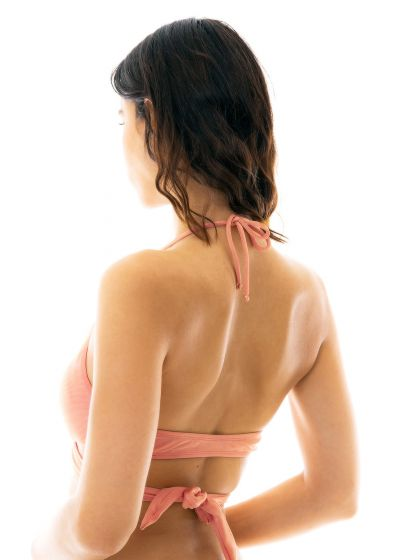Persikofärgad-pink lindad bikini övredel - TOP ROSE TRANSPASSADO