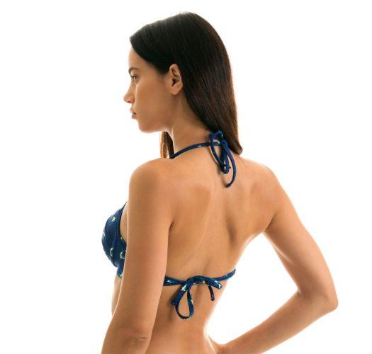 Navy push-up bikini top with bird pattern - TOP SEABIRD CHEEKY