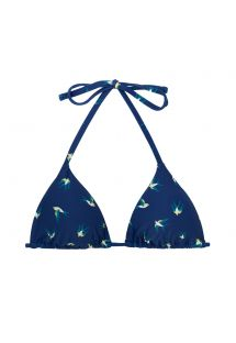 Navy sliding triangle top in birds print - TOP SEABIRD INVISIBLE