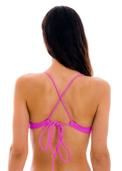 Textured magenta pink balconette top with crossed straps - TOP ST-TROPEZ-PINK BALCONET