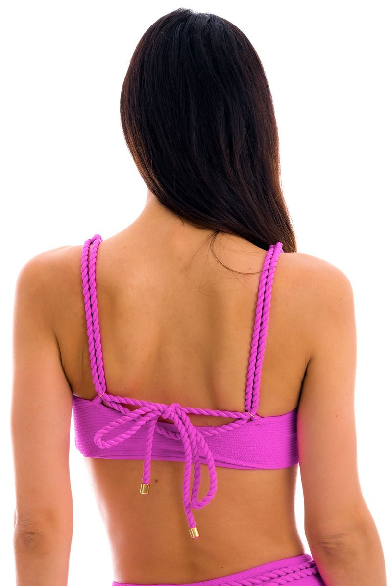 Magenta pink textured bra and twisted rope - TOP ST-TROPEZ-PINK RETO