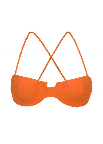 Textured orange balconette top with crossed straps - TOP ST-TROPEZ-TANGERINA BALCONET