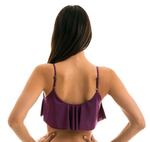 Ruffled plum bra bikini top with adjustable straps - TOP SUBLIME BABADO