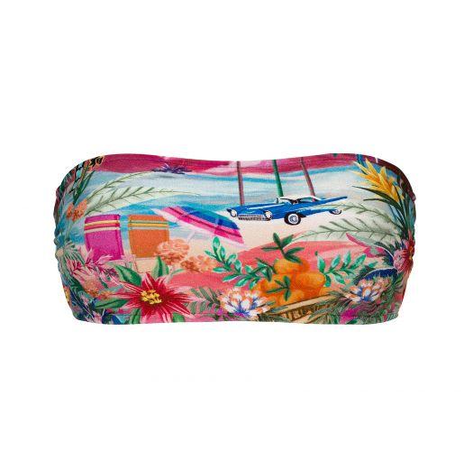 Colorful tropical bandeau bikini top - TOP SUNSET BANDEAU-RETO
