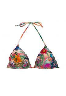Kolorowy tropikalny trójkątny top z falistymi brzegami - TOP SUNSET TRI