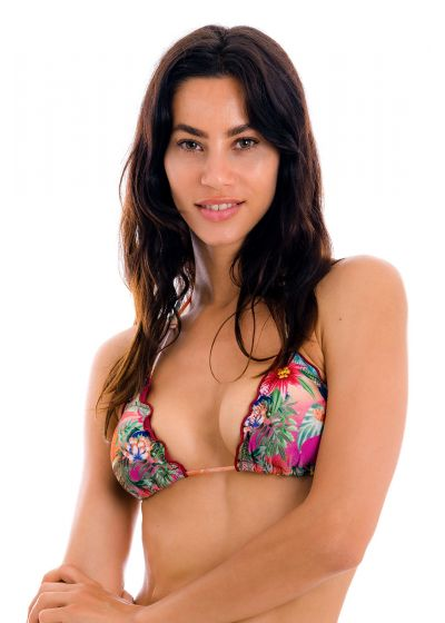 Colorful tropical triangle top with wavy edges - TOP SUNSET TRI
