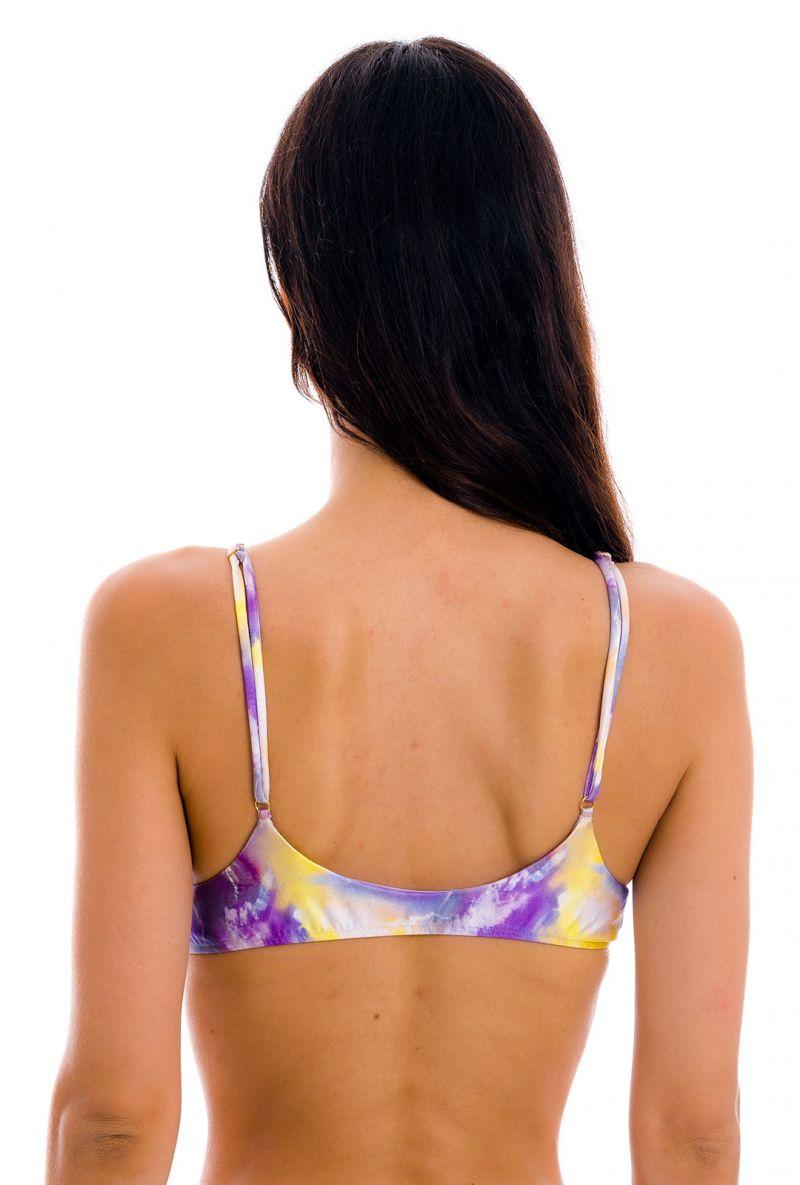 Purple & yellow tie-dye bra top with golden details - TOP TIEDYE-PURPLE BRALETTE