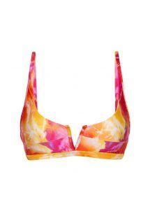 Tie-dye red / orange V bralette bikini top - TOP TIEDYE-RED BRA-V
